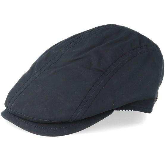 Keps Daffy-3 Wax Cotton W-P Black Flat Cap - MJM Hats - Svart Flat Caps