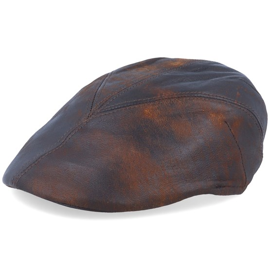 Keps Blue Line Bruce Leather Brown Flat Cap - MJM Hats - Brun