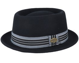 Aken/Alex Woolfelt Black Pork Pie - MJM Hats