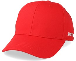 Basic Logo Baseball Cap Red Adjustable - Jack & Jones
