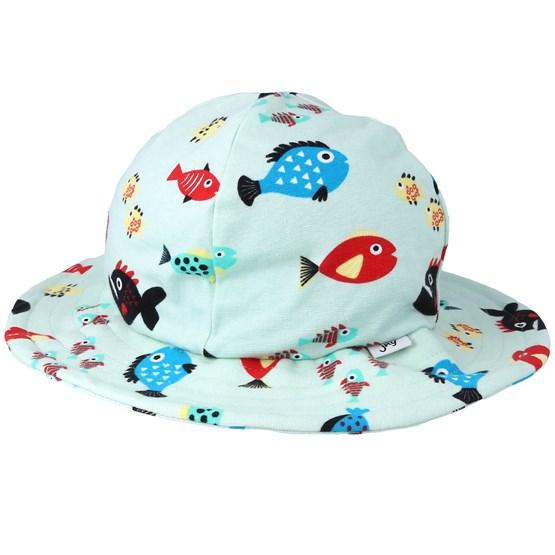 Hatt Kids Sun Hat Swimming Fish Blue Bucket - JNY Kids - Blå Barnkeps
