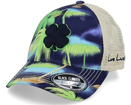 Island Luck 2 Tropical Print/Khaki Trucker - Black Clover