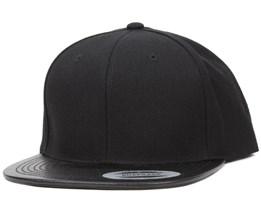 Leather Visor Black Snapback - Yupoong