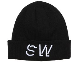 Folded Embroidery Black Beanie - Somewear
