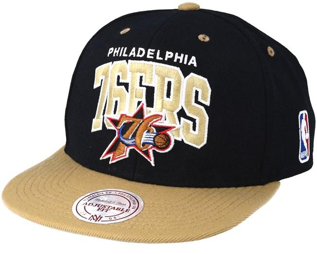 c3ff0a37c4c Philadelphia 76ers Team Arch Black Sand Snapback - Mitchell   Ness ...