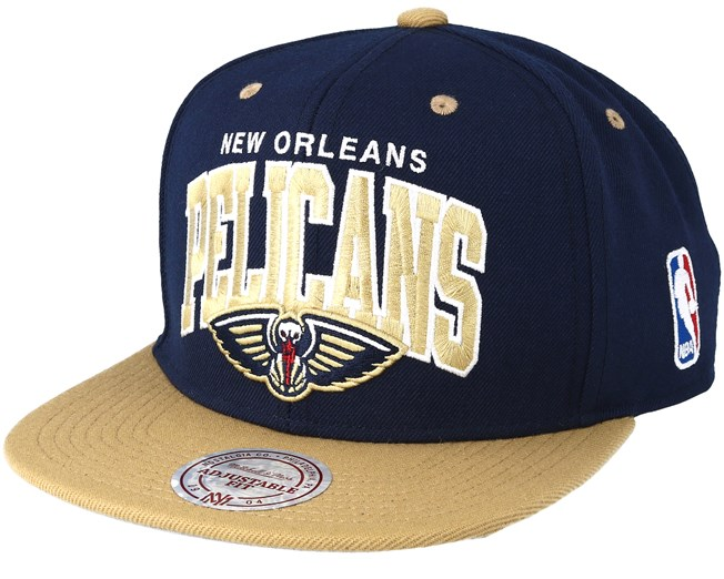 timeless design c3198 51126 New Orleans Pelicans Team Arch Navy Sand Snapback - Mitchell   Ness caps -  Hatstoreworld.com