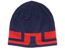 Bridge Stripe Wool Blend Navy/Red Beanie - J.Lindeberg
