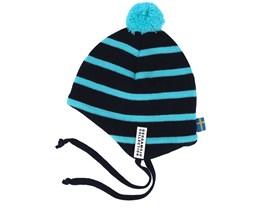 Kids Knitted Helmet Marine/Turquoise Pom - Geggamoja