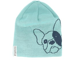 Kids Knitted Bulldog Blue Beanie - Geggamoja