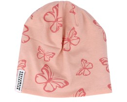 Kids Fleece Butterfly Pink Beanie - Geggamoja