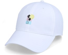 Sport Cap Sunset Palm White Adjustable - Dedicated