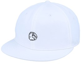 Unconstructed Cap Globe White Snapback - Dedicated