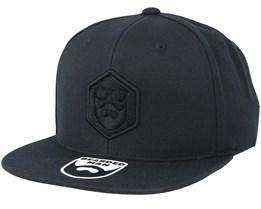 Hexagon Logo Black/Black Snapback - Bearded Man