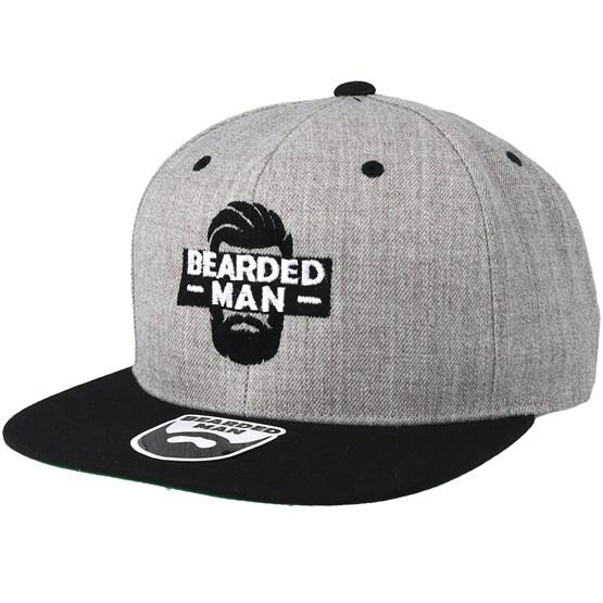 Keps Facebox Grey/Black Snapback - Bearded Man - Grå Snapback