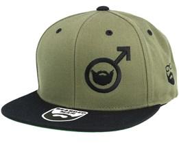 Beard Symbol Olive/Black Snapback - Bearded Man