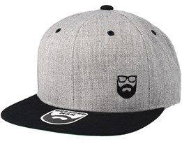 Side Logo Grey/Black Snapback - Bearded Man