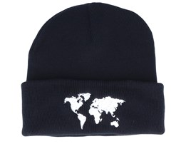 Kids World Map Black Beanie - Kiddo Cap