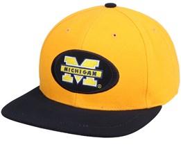 Michigan Wolverines Michigan Oval College Vintage Yellow/Black Snapback - Twins Enterprise