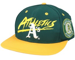 Oakland Athletics Script MLB Vintage Green/Yellow Snapback - Twins Enterprise