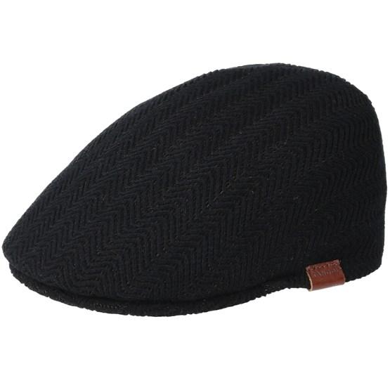 Keps Herringbone Rib 507 Black Flat Cap - Kangol - Svart Flat Caps