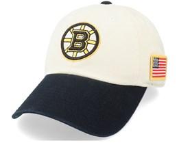 Boston Bruins United Slouch Ivory/Black Dad Cap - American Needle