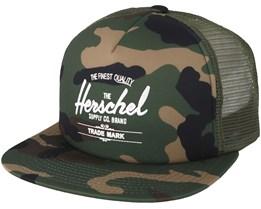 Whaler Mesh Woodland Camo Snapback - Herschel