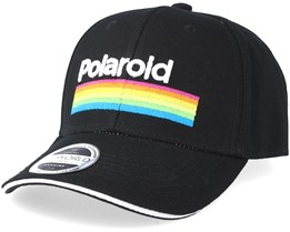 Polaroid Stripes Logo Curved Bill Cap Black Adjustable - Bioworld