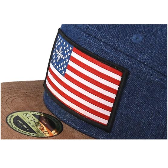 Far Cry 5 American Flag Denim Brown Snapback Bioworld Caps Hatstoreworld Com