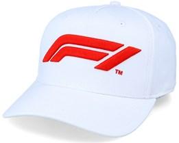 Large Logo Baseball Cap White/Red Adjustable - Formula One