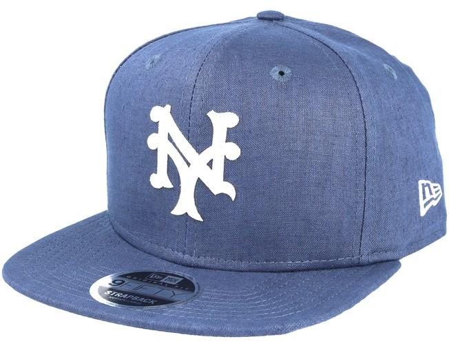 2c1e0e0bc95f5 New York Mets Linen Felt Blue Strapback - New Era - Start Gorra - Hatstore