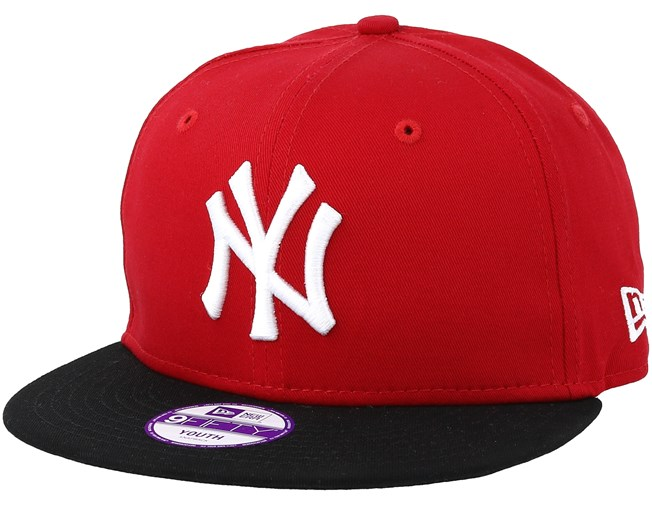 low priced 26222 44f23 Kids New York Yankees 9Fifty Cotton Block Red Black Snapback - New Era