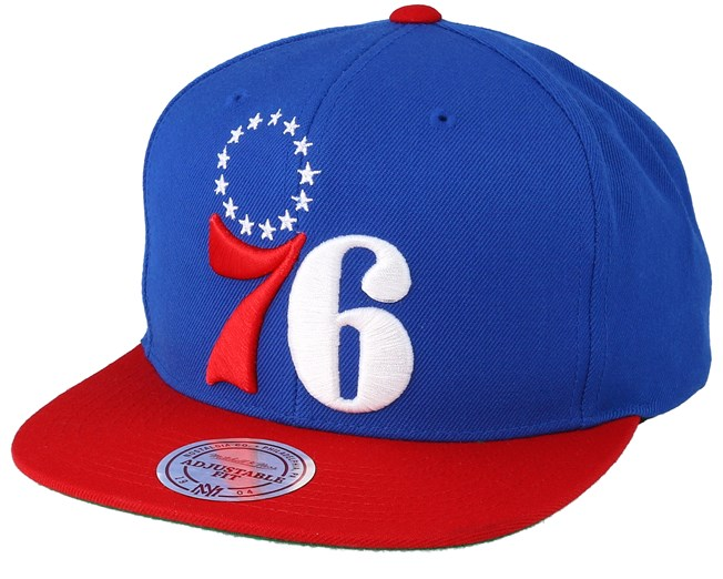2221a73c4ca Philadelphia 76ers XL Logo 2 Tone Red Blue Snapback - Mitchell   Ness caps  - Hatstoreworld.com