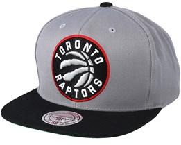 Toronto Raptors XL Logo 2 Tone Black/Grey Snapback - Mitchell & Ness