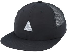 Triple Triangle Side Mesh 6 Panel Black Snapback - Huf