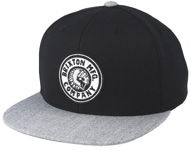 fe7fa01d0fa4c Rival Black Heather Grey Snapback - Brixton caps - Hatstoreaustralia.com