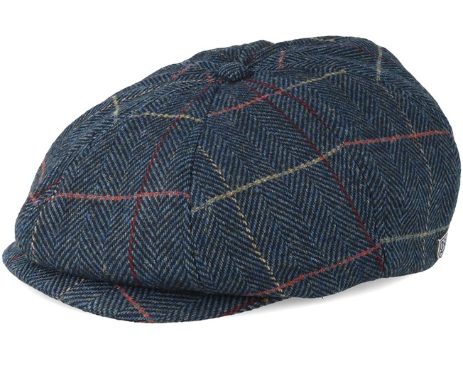 Brood Snap Navy Plaid Flat Cap - Brixton - Bearded Man Apparel - Hatstore.es 2c578c66427