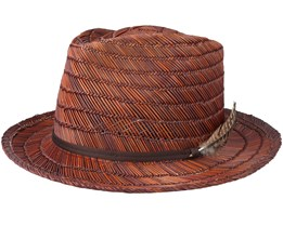 Crosby II Brown/Brown Straw Fedora - Brixton