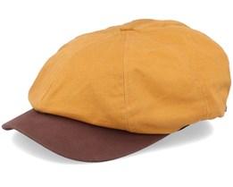 Report Mustard/Brown Snap Flat Cap - Brixton