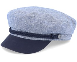 Fiddler Cap Navy/Off White Flat Cap - Brixton
