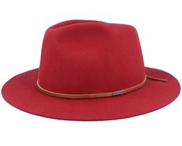 Wesley Packable Cowhide Red Fedora - Brixton