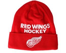 Detroit Red Wings Locker Room Cuffed Red Beanie - Adidas