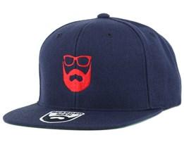 Logo Navy/Red Snapback - Bearded Man