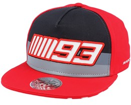 Marc Marquez Cap Flat Mm93 Stripes Black/Red Snapback - Moto GP