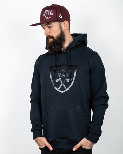 Crest Navy/Black Hoodie - Bearded Man