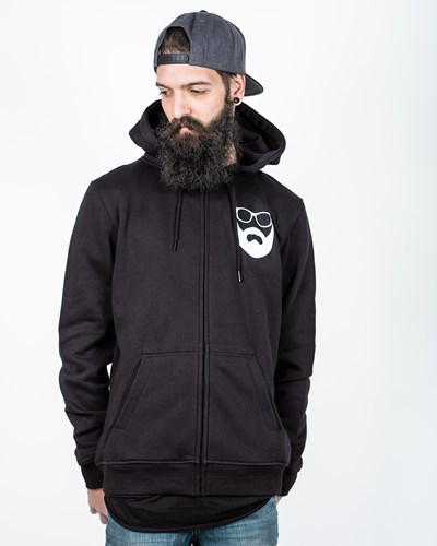 Logo Black/White Zip Hoodie - Bearded Man