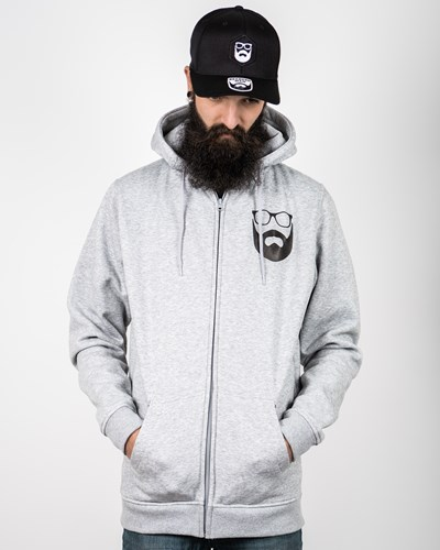 Logo Grey/Black Zip Hoodie - Bearded Man
