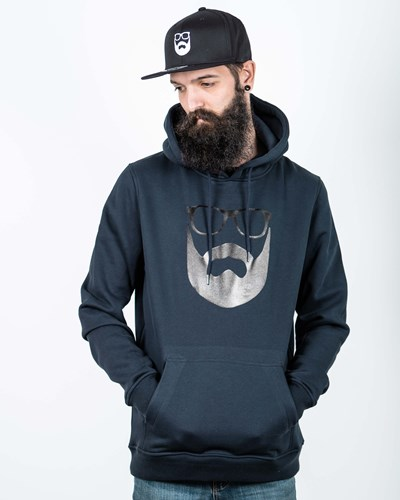 Logo Navy/Black Hoodie - Bearded Man