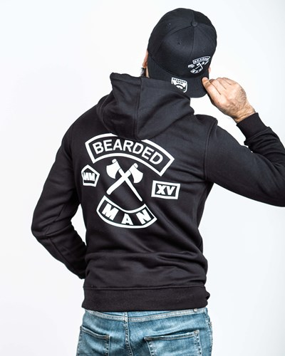 MC Patch Back Black/White Hoodie - Bearded Man