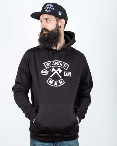 MC Patch Front Black/White Hoodie - Bearded Man