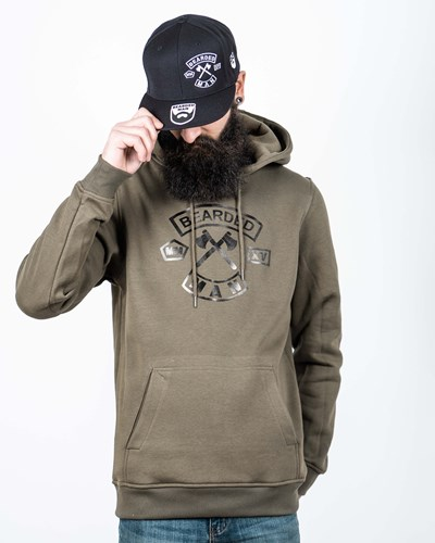 MC Patch Olive/Black Hoodie - Bearded Man